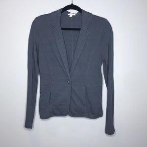 Caslon gray cotton knit casual blazer size M